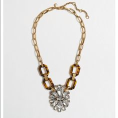 """J CREW FACTORY TORTOISE CRYSTAL PENDANT NECKLACE Wore it a few times. In great condition. Comes with original packaging and storage bag. Zinc casting, resin link, acrylic stone, steel chain. Light gold ox plating. Length: 18"""" with a 3"""" extender chain for adjustable length. J. Crew Jewelry Necklaces"""