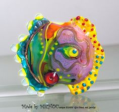 Lonesome Fish  Art Glass focal bead by Michou P. by michoudesign