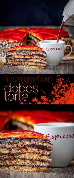 The Dobos Torte named after its creator József Dobos is a cake of legendary status in Hungary with its 6 layers, chocolate butter cream frosting and caramel topping Cake Recipes At Home, Homemade Cake Recipes, Baking Recipes, Baking Ideas, Great Desserts, Best Dessert Recipes, Sweet Recipes, Delicious Recipes, Dinner Recipes