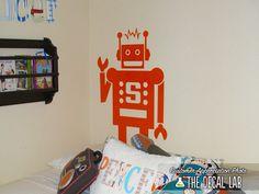 Robot Wall Decal Robot Sticker Vintage Robot Matte by DecalLab