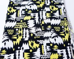Black White and Yellow Graphic Fabric Printed by felinusfabrics