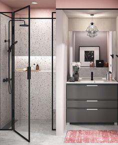 3 idées pour une déco en gris et rose dans la salle de bain | My Blog Deco Bathroom Design Layout, Layout Design, Table Rose, Deco Rose, Terrazzo, Logs, Bathroom Interior, Concept, Furniture