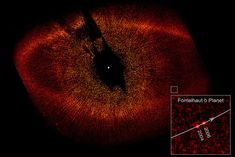 This image shows the debris ring around Fomalhaut and the location of its first known planet. This is the actual discovery image – published in the journal Science in November 2008. Fomalhaut b was the first beyond our solar system visible to the eye in photographic images. Image via Wikimedia Commons.