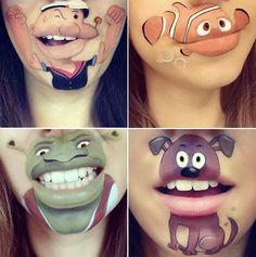 Makeup Artist Laura Jenkinson Turns Her Lips Into Disney Inspired Art Maskenbildner Laura Jenkinson Cartoon Lippen Make-up Crazy Makeup, Cute Makeup, Lip Makeup, Lips Cartoon, Cartoon Makeup, Lipstick Art, Lip Art, Lipsticks, Maquillaje Halloween