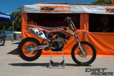 """To shorten the bike: 19mm offset triple clamps and the rear wheel is positioned as far forward as possible. Flywheel off the """"W"""" model to help keep the bike from stalling. He also uses a manual version of the Rekluse clutch. Mike Brown's X Games KTM 350 SX-F - Factory Bike Friday - Dirt Rider Magazine"""
