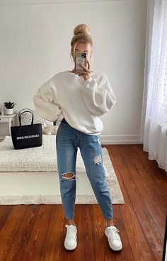 Casual College Outfits, Lazy Outfits, Cute Comfy Outfits, Casual Winter Outfits, Winter Fashion Outfits, Simple Outfits, Everyday Outfits, Look Fashion, Stylish Outfits