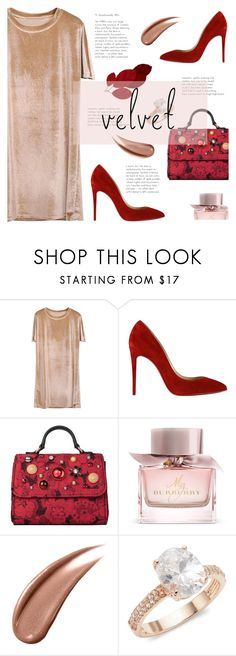 """Crushing on Velvet"" by sandralalala ❤ liked on Polyvore featuring Christian Louboutin, Dolce&Gabbana, Burberry and Saks Fifth Avenue"