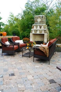 paver patio with fireplace. Thrifty Decor Chick
