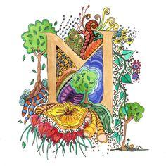 Monogram, Initial, Colour-Me-In Illuminated Letters - M