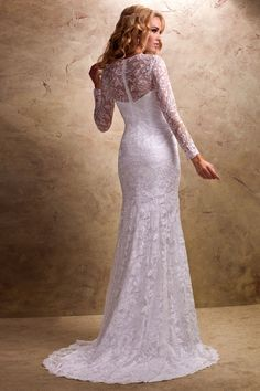 Lace Wedding Dresses with Full Sleeves $219.99 Trumpet/Mermaid Chapel Train