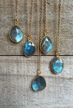 Labradorite Necklace Blue Labradorite Pendant Drop Necklace