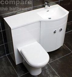 Millie P Shaped Vanity Set Bathroom Sink Basin Unit + WC Toilet White Gloss Toilet Vanity Unit, Basin Vanity Unit, Basin Unit, Toilet Sink, Vanity Units, Wet Room Bathroom, Bathroom Layout, Bathroom Ideas, Bungalow Interiors