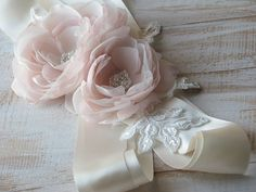 Blush wedding sash Wedding sash Ivory by WhiteBridalBoutique