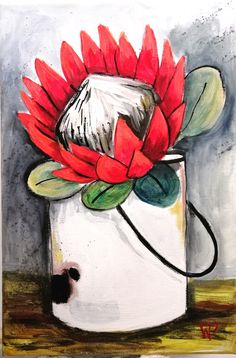 By Wilma Potgieter Girls With Flowers, Garden Crafts, Watercolor Flowers, Decoupage, Paintings, Paint, Painting Art, Floral Watercolor, Painting