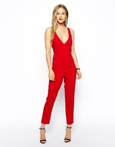 Classy Red Jumpsuit : Sexy Red Jumpsuit