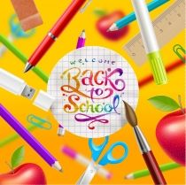 Buy Back to School Illustration by Sergo on GraphicRiver. Back to school – vector illustration with watercolor colorful lettering and stationery items. Back To School Wallpaper, Free Icons Png, School Plan, Free Website Templates, School Posters, Stationery Items, Wallpaper Backgrounds, Iphone Wallpapers, Vector Free