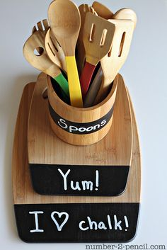 DIY Painted Spoons and Chalkboard Kitchen Accessories