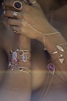 Jacquie Aiche Tourmalines, rubies, sapphires, moonstones, aquamarines and Chrysoprase set in rose and yellow gold. Ruby Jewelry, Boho Jewelry, Jewelry Accessories, Fashion Accessories, Jewelry Design, Fashion Jewelry, Jewlery, Hand Jewelry, Purple Jewelry