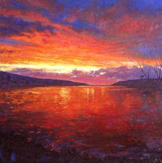 Andrew Barrowman 'Loe Pool sunset' Oil on board 60cmx60cm
