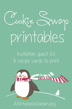 Christmas Toffee Bark and Cookie Swap Printables Free Cookie Swap Printables - Everything you need to organize a cookie swap with your friends! Print out this super sweet set of penguin Coo. Cookie Exchange Party, Christmas Cookie Exchange, Easy Christmas Cookie Recipes, Holiday Cookies, Christmas Baking, All Things Christmas, Christmas Holidays, Christmas Parties, Winter Parties