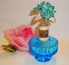 Vtg IRICE Germany Blue Bead Rhinestone Flower Ornate Filigree Top Perfume Bottle
