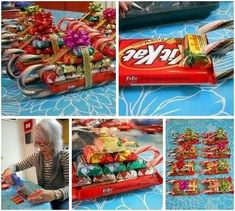 Candy Cane Sleigh Tutorial Great classroom gift ideas Or work gift ideas Instead of doing usual Christmas candy bags Christmas Hacks, Christmas Goodies, Christmas Candy, Christmas Treats, All Things Christmas, Christmas Holidays, Christmas Ribbon, Christmas Recipes, Christmas Sleighs