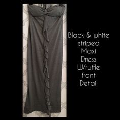 Black & White striped strapless MAXI DRESS. Sz M Black & White thin striped strapless MAXI DRESS. Ruffle front detail. Sz Medium. Gently worn only twice & in Great condition ! FYI-This dress was hemmed at bottom because its original length was way too long.  It hits approx right at the ankle on 5'2-person. Lightweight. Perfect summer dress! Can even be used as a swim cover-up if desired. Soft, cool & comfortable Cotton/ poly blend. Padding in the bust so you don't need a bra as well. The…