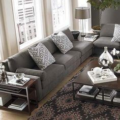 Skylar l shaped sectional by bassett furniture living room ideas i like the idea of the love seat with no arms and the table connecting both sofas watchthetrailerfo