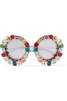 Shop Dolce & Gabbana Crystal-embellished Round-frame Acetate And Metal Mirrored Sunglasses from stores. Flower Sunglasses, Heart Shaped Sunglasses, Heart Sunglasses, Luxury Sunglasses, Mirrored Sunglasses, Sunglasses Sale, Oversized Round Sunglasses, Round Metal Sunglasses, Trending Sunglasses