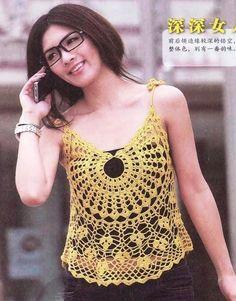 Medallion Spaghetti Top free crochet graph pattern