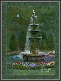 """""""Sparkling Garden Fountain"""" is a print on Fine Art America. Click the image to see it, then choose your own mat, frame, and print size. This 444SLT frame has a gunmetal-slate finish and is one inch wide (in the """"Gray"""" drop-down menu). Print size as shown is 21 x 30 inches, with two inches mat of color Williamsburg Green. Realistic Art © Nancy Lee Moran #garden #fountain ☺ The white """"Fine Art America"""" logo does NOT appear on items that you purchase."""