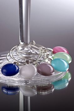 Wine glass charm setwine glass charmswine by BeautifulGlassbyZoe