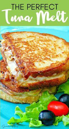 Tuna Melt Sandwich, Tuna Melts, Grilled Sandwich, Soup And Sandwich, Tuna Sandwich Recipes, Panini Recipes, Salad Sandwich, Chicken Sandwich, Tuna Fish Recipes