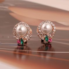 Pair of Chic Faux Pearl Embellished Layered Diamante Round Stud Earrings For Women