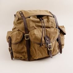 Oilskin and leather backpack