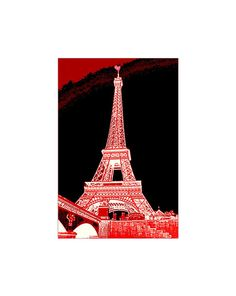 Paint Paris Red Red Eiffel Tower With Heart On by LovesParisStudio, $30.00