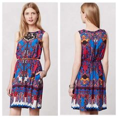 "Anthropologie Empress Dress We're inspired by pieces that are both classically romantic and a bit eccentric, at once feminine and edgy. We love how the elegant baroque pattern on this party-ready dress is printed in splashy, near-neon hues. Play up the colorful look with a bold pink lip. By Lilka Pullover styling Side pockets Rayon Machine wash Regular: 35.75""L Anthropologie Dresses"