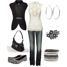 """Black  and Ivory"" Casual Work Day   by jklmnodavis on Polyvore"