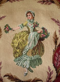 """16"""" Vintage Needlepoint Pillow Beautiful Young Victorian Girl With Bouquet   eBay"""