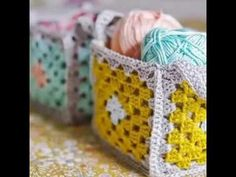 DIY.Granny square crochet BASKET pattern-step bt step