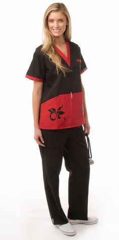 This black & red contrast top incorporates the color blocking style. The red color stands out in contrast with the black.