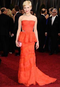 Michelle Williams in Louis Vuitton #peplum Coral dress