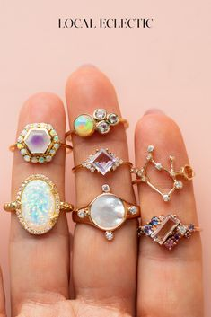 rings rings rings Discover your new favorite rings from emerging jewelry designers. From opals to solid gold, dainty to statement, there's a little something for [. Cute Jewelry, Gold Jewelry, Jewelry Box, Jewelry Rings, Jewelery, Jewelry Accessories, Jewelry Design, Jewelry Making, Indian Accessories