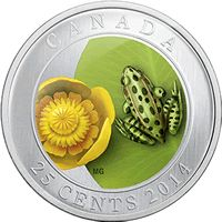 Water Lily and Leopard Frog Commemorative Quarter Canadian Memes, Canadian Coins, Foreign Coins, Commemorative Coins, Silver Coins, Flora, Creatures, Mint, Canada