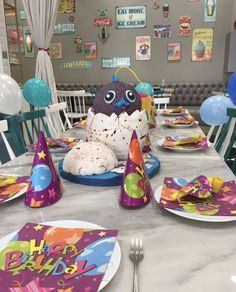 Hatchimals Birthday Party Table set up