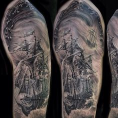 "@TattooSnob's photo: ""Pirate boat half sleeve by @joseperezjrtattoos at Dark Water Tattoos in Illinois. See more pictures on Jose's IG"