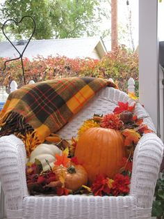Autumn chair Autumn Decorating, Porch Decorating, Decorating Ideas, Decor Ideas, Welcome Fall, Fall Harvest, Autumn Home, Autumn Tea, Autumn Leaves