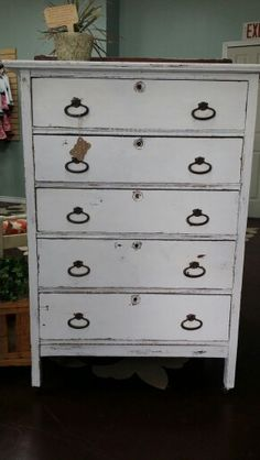 Antique white distresses chest of drawers