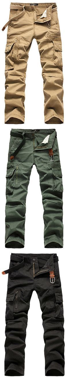 f608b35288 Mens Cotton Cargo Pants Straight Leg Solid Color Zippered Multi-pocket  Casual Trouser