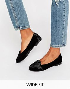 b032d01d328 Image 1 of New Look Wide Fit Velvet Ballet Slipper Wide Fit Shoes